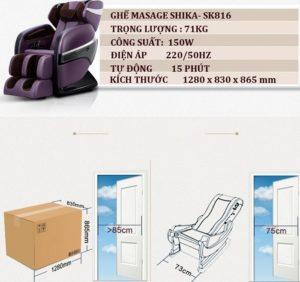 Ghế massage toàn thân shika SK-816 tiết kiệm không gian