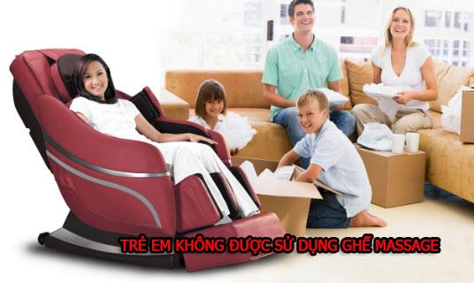 Trẻ em không được sử dụng ghế massage