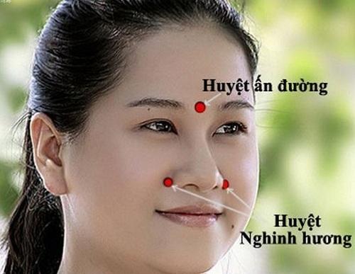 Bấm huyệt chữa sổ mũi, ngạt mũi
