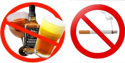 Không dùng thuốc lá, rượu bia