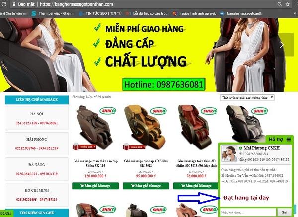 Đặt ghế massage online
